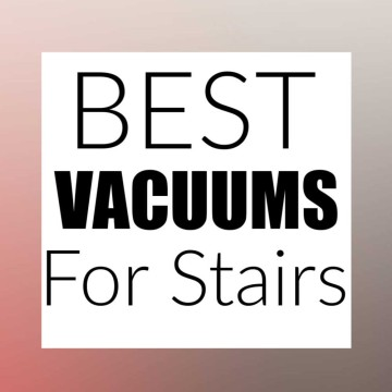 grey and red background with a text box that reads the best vacuums for stairs