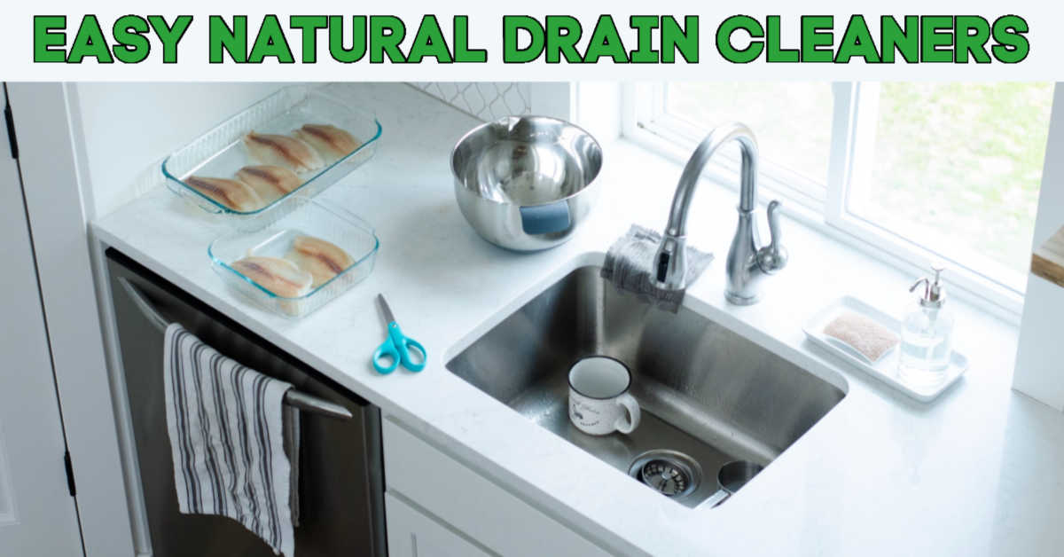 Sink in front of window with a coffee cup and text that reads Easy Natural Drain Cleaners