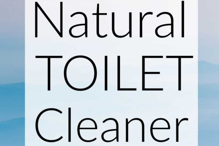 pastel blue background and text in a white box that reads natural toilet cleaner
