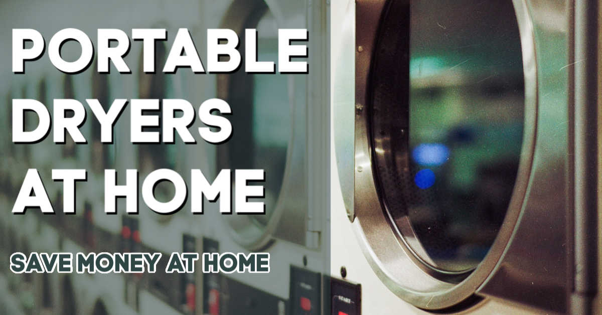 closeup of a dryer in a laundromat with a sign that says to use the portable dryers at home