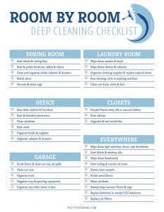 room by room checklist for the dining room, laundry, office, closet, garage and everywhere else