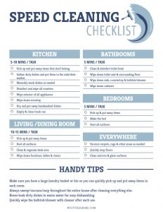 Speed Cleaning Checklist Printable broken up by room with a list of jobs that can be accomplished in just a few minutes