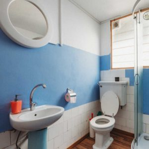bathroom toilet sink and shower with a blue stripe on the wall