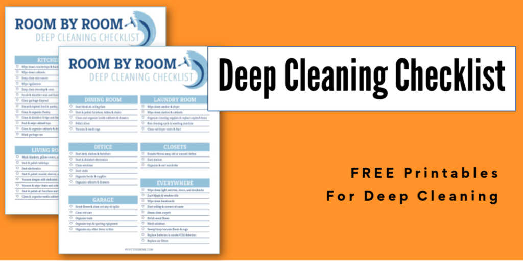 two deep cleaning checklist printables on a bright orange background