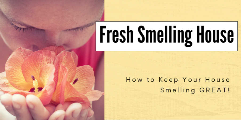 girl smelling fresh flower and text box on how to keep your house smelling great