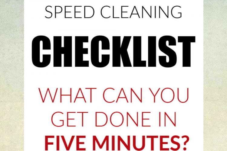 Pastel background with a text box that reads speed cleaning checklist what can you get done in five minutes