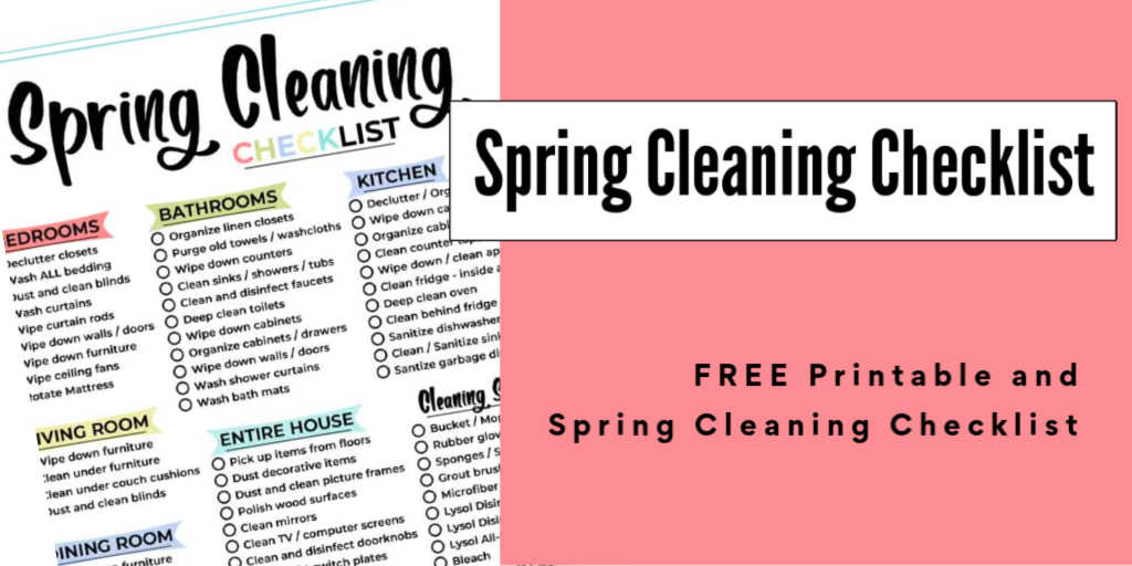 sprig cleaning printable with a pink background and text overlay