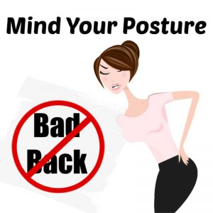 woman holding her sore back and a no-bad-back sign