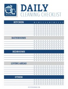 blank daily cleaning checklist to fill out yourself