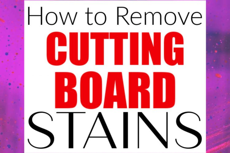 purple and red splashes in the background and stain removal cutting board text