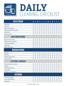daily cleaning checklist printable filled our for kitchen, bathrooms, bedrooms, living area and others