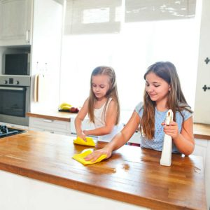 two young girls cleaning a kitchen counter