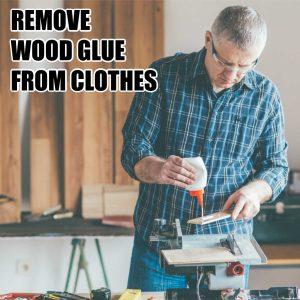 man wearing flannel shirt using wood glue in a workshop