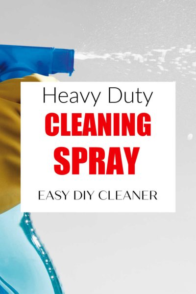 spray bottle with text reading heavy duty cleaning spray
