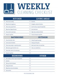 filled out weekly cleaning printable in blue and gray