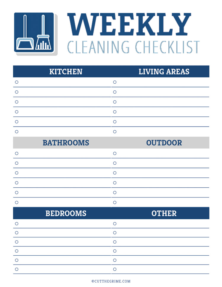 blank weekly cleaning checklist broken out into different areas