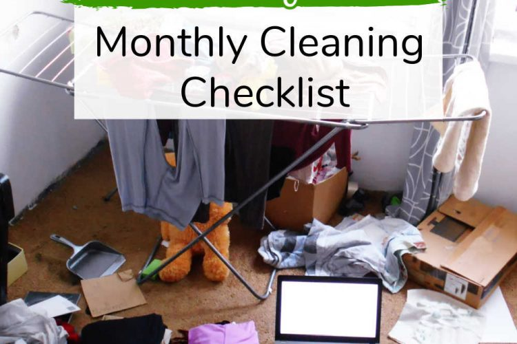 mess house with text box to use a free checklist for cleaning