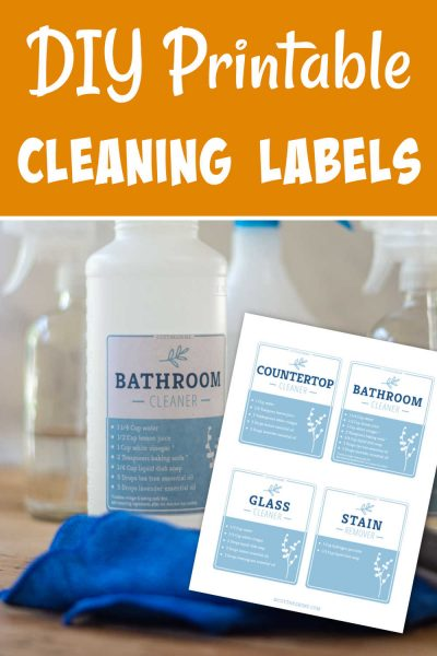 bathroom cleaning label on a plastic spray bottle