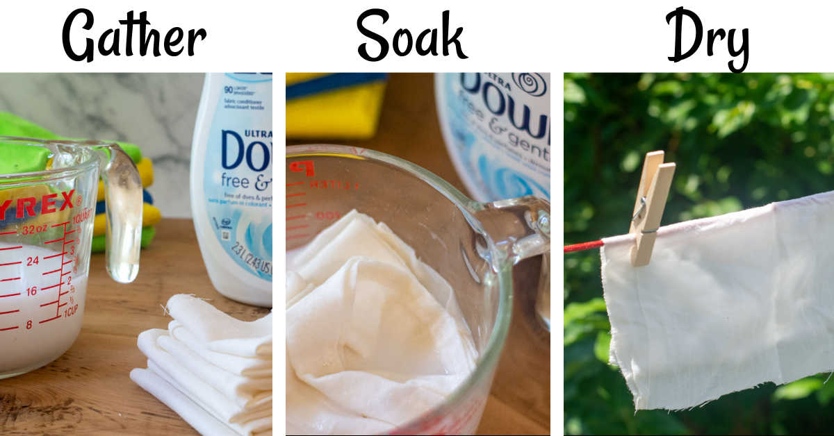 three photos showing the steps to gather the ingredients, soak the cloth and then drying it